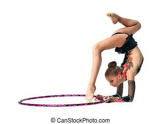 menina jovem, mostrar, ginástica, dança, com, aro