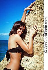menina, jovem, praia, banhar-se, bonito, paleto