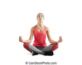 menina jovem, relaxante, em, ioga, position., isolado, branco, fundo