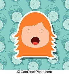 menina jovem, rosto, bocejar, clocks, fundo