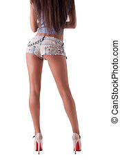 menina, jovem, topless, posar, calças brim, bonito