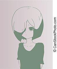menina, jovem, triste