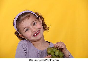menina, jovem, uvas, grupo