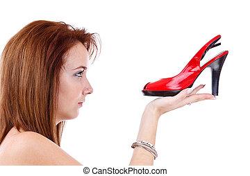 menina, jovem, vermelho, sapato