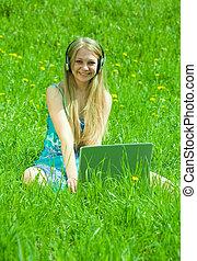 menina, laptop, relaxante