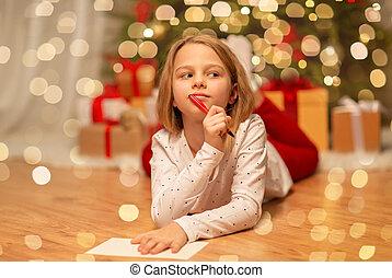 menina, lar, lista desejo, escrita, natal