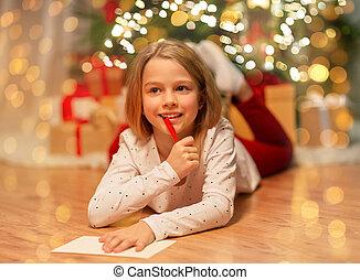 menina, lar, lista, sorrindo, escrita, desejo, natal