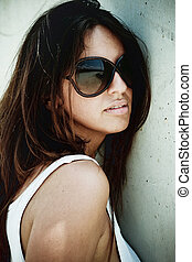 menina, latim, óculos, elegante
