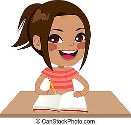 menina, latina, estudante, escrita