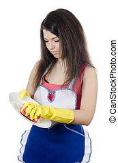 menina, lavagens, um, prato, isolado, branco, fundo