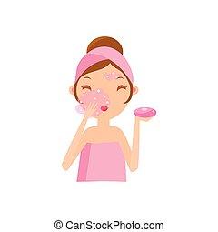 menina, lavando, sabonetes, rosto