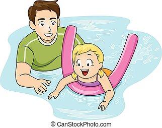 menina, lição, natação