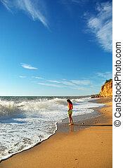 menina, ligado, a, praia.