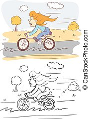menina, ligado, bicicleta
