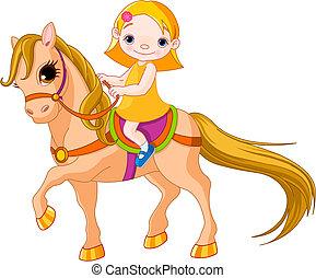 menina, ligado, cavalo