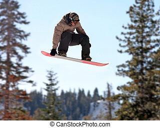 menina, ligado, um, snowboard