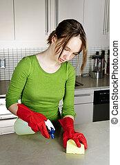 menina, limpeza, cozinha