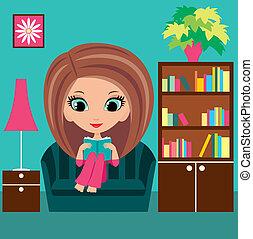 menina, livro, caricatura, lê