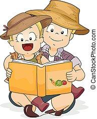 menina, livro, jardinagem, irmão, criança