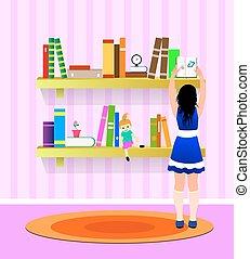 menina, livro, jovem, leva
