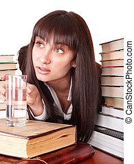 menina, livro, montão, cup.