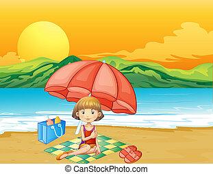 menina, livro, praia