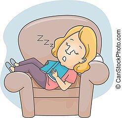 menina, livro, sono