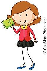 menina, livro, verde, segurando
