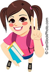 menina, livros, estudante, segurando