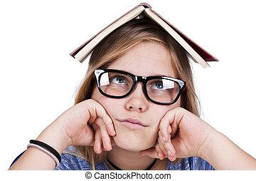 menina, livros