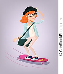menina, longboard, personagem, patinador