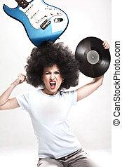 menina, louco, rock-n-roll