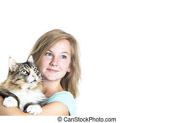 menina, loura, segurando, gato