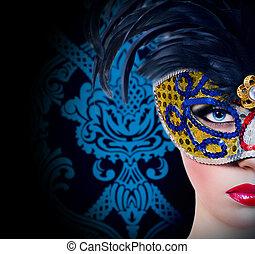 menina, máscara, lábios, carnaval, vermelho, bonito