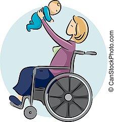 menina, mãe, bebê, cadeira rodas