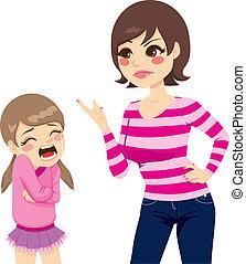 menina, mãe, gritar