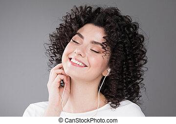 menina, música, bonito, escutar
