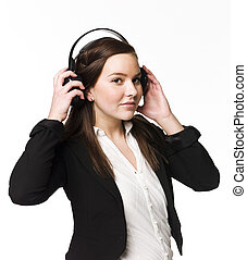 menina, música, escutar