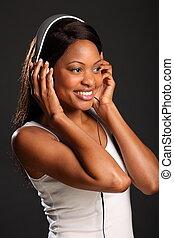 menina, música, sorrindo, escutar