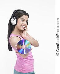 menina, música, techno-savvy, desfrutando