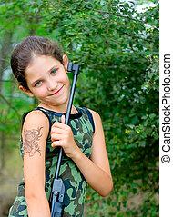 menina, madeira, arma