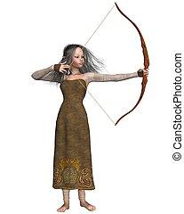 menina, madeira, duende, arqueiro