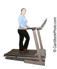 menina, malhação, ligado, treadmill