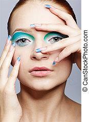 menina, maquiagem, close-up