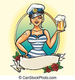menina, marinheiro, cima, gelado, alfinete, cerveja