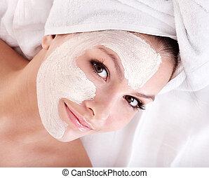 menina, mask., facial, argila