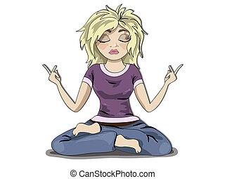 menina, meditação, loura