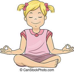 menina, meditar