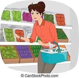 menina, mercearia, produto, seção