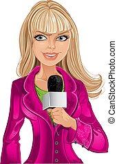 menina, microfone, loura, repórter